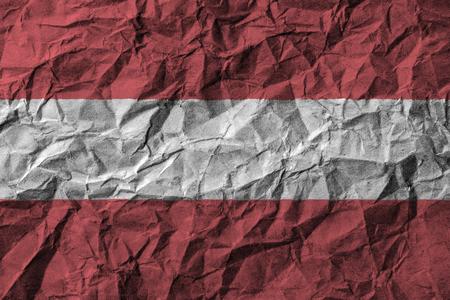 Drapeau Autriche avec des détails élevés de vieux papier froissé sale. Illustration 3D Banque d'images - 81867274