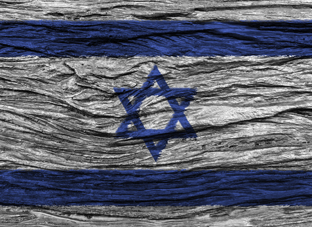 Israel flag with high detail of old wooden background . 3D illustration .