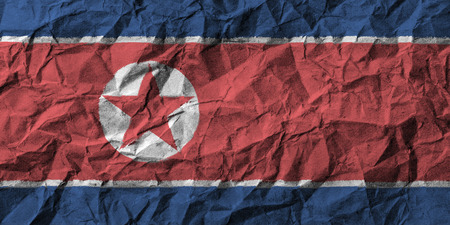scrunch: North korea flag with high detail of crumpled paper . 3D illustration . Stock Photo