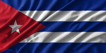 rumple: Cuba flag painting on high detail of wave cotton fabrics . 3D illustration .