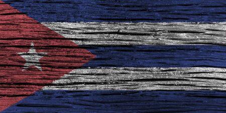 古い木製の背景の高詳細でキューバの国旗。3 D イラスト。