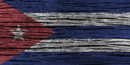 Cuba flag with high detail of old wooden background . 3D illustration .