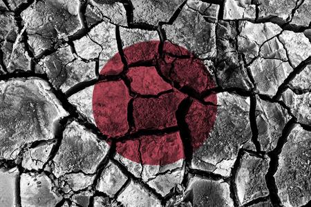 high damage: Japan flag painting on high detail cracked ground . 3D illustration .