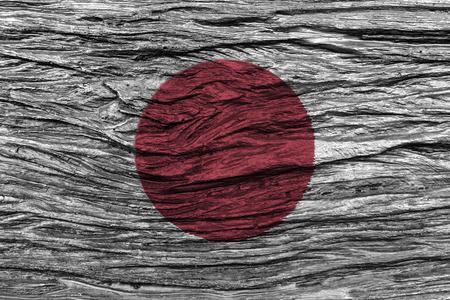 古い木製の背景の高詳細で日本国旗。3 D イラスト。