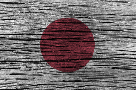 rumple: Japan flag with high detail of old wooden background . 3D illustration .