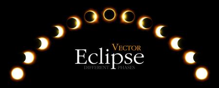 Verschiedene Phasen der Sonnen- und Mondfinsternis. Vektor Standard-Bild - 82235082