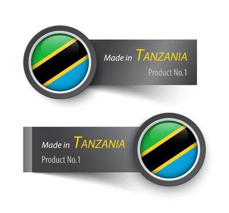 paper sheet: Flag icon and label with text made in Tanzania . Illustration
