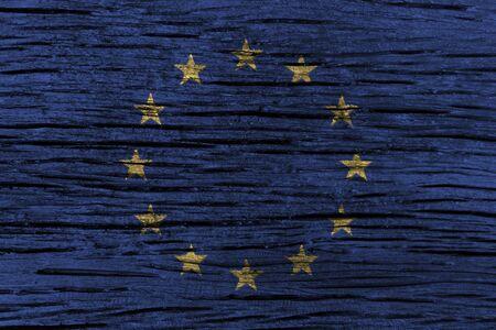 古い木製の背景の高詳細で欧州連合 (EU) フラグです。3 D イラスト。