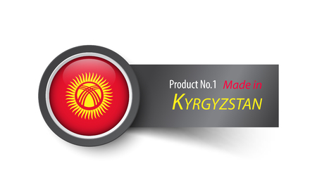 kyrgyzstan: Flag icon and label with text made in Kyrgyzstan .