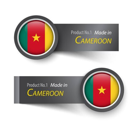 cameroonian: Flag icon and label with text made in Cameroon .