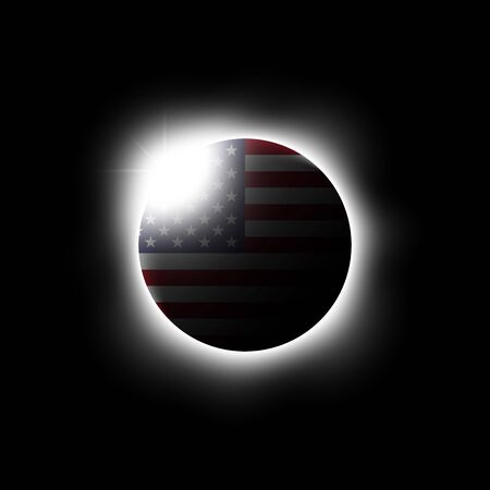 Solar or Lunar eclipse and american flag. Vector illustration. Illustration