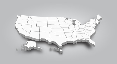 Carte en 3D de l'État américain.