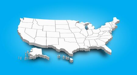 3D-kaart van de Verenigde staat van Amerika.