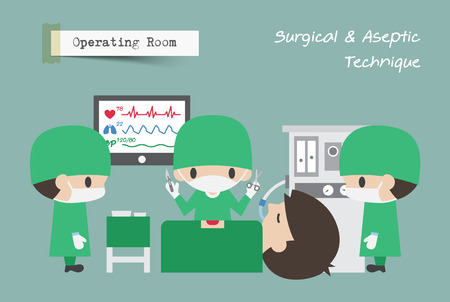 Operating Room ( OR ) . Surgeon , Assistant and Anaesthetist operate on patient . Vector .