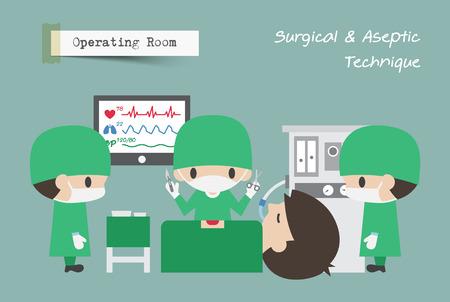 Werkruimte (OR). Chirurg, assistent en anesthesist werken op patiënt. Vector.