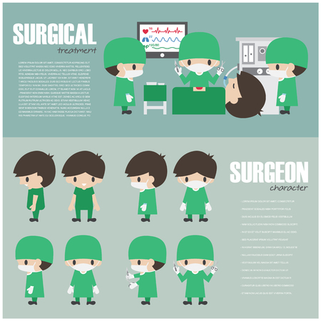 Surgical infographics element and set of surgeon cartoon character . Vector .