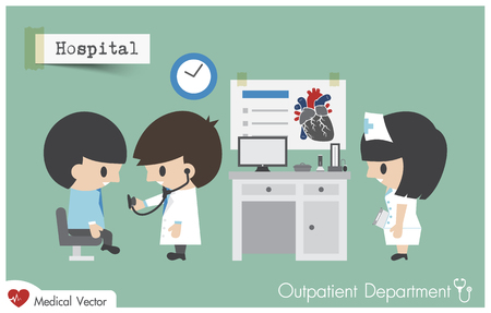 Outpatient department ( OPD ) in hospital . Doctor ( Cardiologist ) use stethoscope to exam patient . Vector . Flat design . Illustration