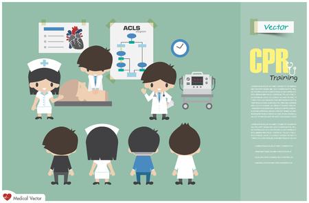 Addestramento alla RCP. L'equipe medica sta insegnando sulla rianimazione cardiopolmonare in ospedale. Vettore Design piatto .