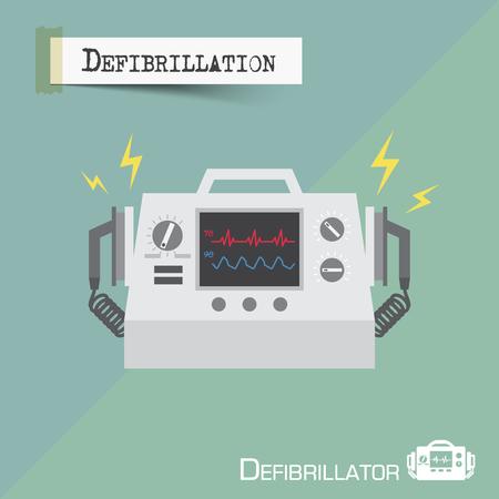 Defibrillator machine . Flat design . Vector . Illustration
