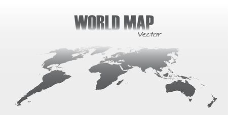 Perspective world map on gray background .