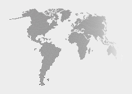 Distorted and dotted style world map on gray background .