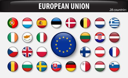 Flaggen der Europäischen Union und Mitglieder. Standard-Bild - 88681708