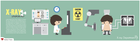 X-ray Department . Radiological technologist is imaging at chest of patient . Vector . Flat design . Illustration