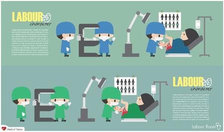 노동실. 산과 전문의가 아기를 제공하고 간호사가 복사열을 준비합니다. 벡터입니다. 평면 디자인 . 일러스트