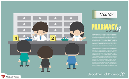 Department of Pharmacy . Pharmacists are dispensing to patient in hospital . Flat design . Vector .