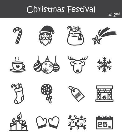 Christmas festival icon set illustration. Çizim