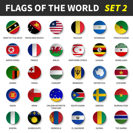 All flags of the world set circle and concave design.