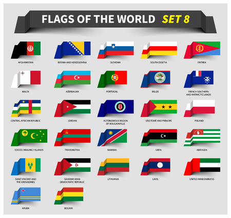 All flags of the world set 8 . Waving ribbon style .