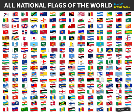 All official national flags of the world . Waving design . Vector . Imagens - 94025339