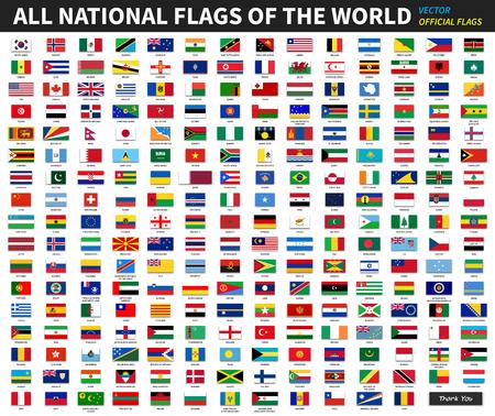 Wszystkie oficjalne flagi narodowe świata. Formalny projekt. Wektor