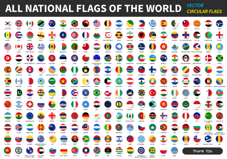 Alle officiële nationale vlaggen van de wereld. cirkelvormig ontwerp. Vector