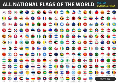 Wszystkie oficjalne flagi narodowe świata. okrągły wzór. Wektor .