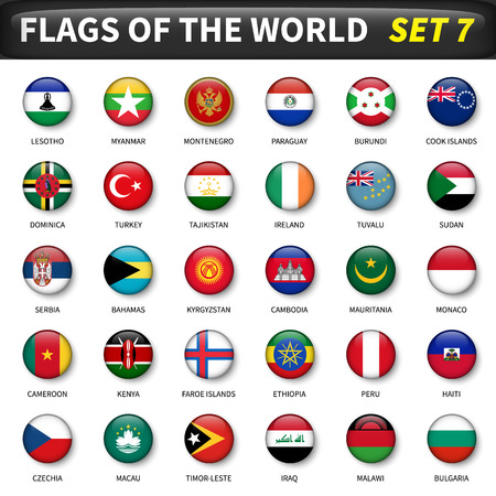 All flags of the world circle and convex design.