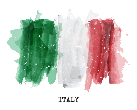Watercolor painting flag of Italy Vector .