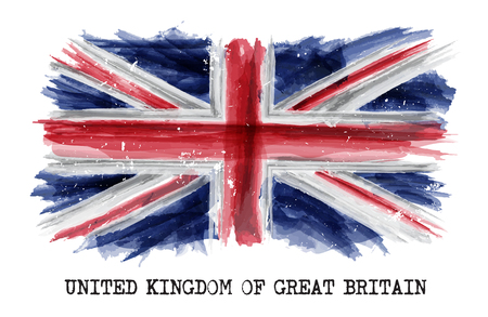 Watercolor painting  flag of United kingdom of great britain ( UK ) . Vector .