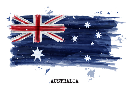 Watercolor painting flag of Australia . Vector .