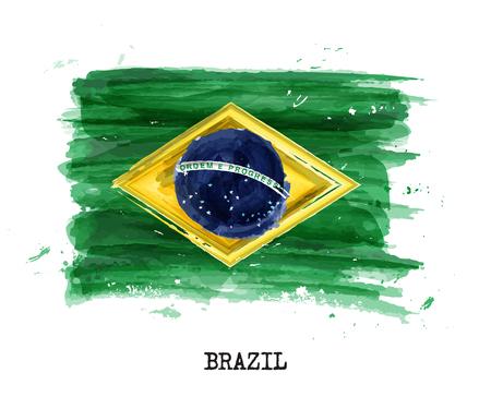 Aquarellmalerei Flagge von Brasilien . Vektor . Standard-Bild - 94706645
