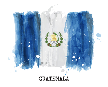 Watercolor painting flag of Guatemala vector illustration. Vettoriali