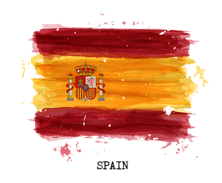 Watercolor painting flag of Spain vector illustration. Illustration
