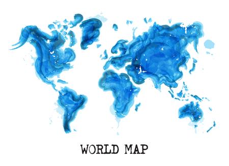 世界地図の水彩画スタイル(生態学的概念).ベクトル。  イラスト・ベクター素材