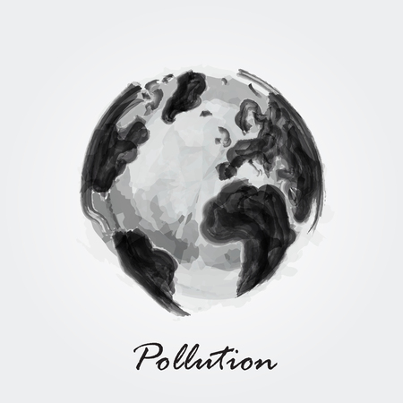 Watercolor painting design of polluted world, with pollution inscription. Ecological concept illustration.