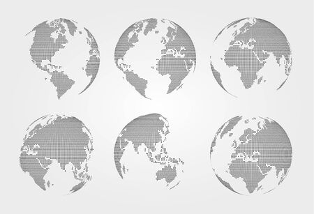 Set of world map on dotted style vector illustration