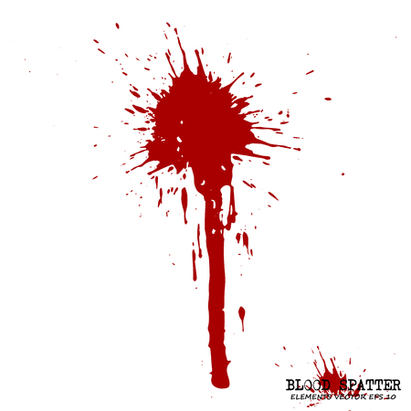 Blood splatter elements on white background. Criminal concept Vector illustration. Illustration