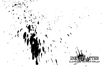 Ink splatter elements on white background . Vector . Illustration