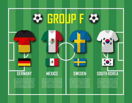 Soccer cup 2018 team group F. Vector for international world championship tournament
