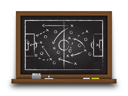 Soccer cup formation and tactic . Chalkboard with football game strategy . Vector for international world championship tournament 2018 concept .